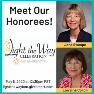 Meet our honorees! Jane Stampe and Lorraine Colich. Two images of smiling older women.