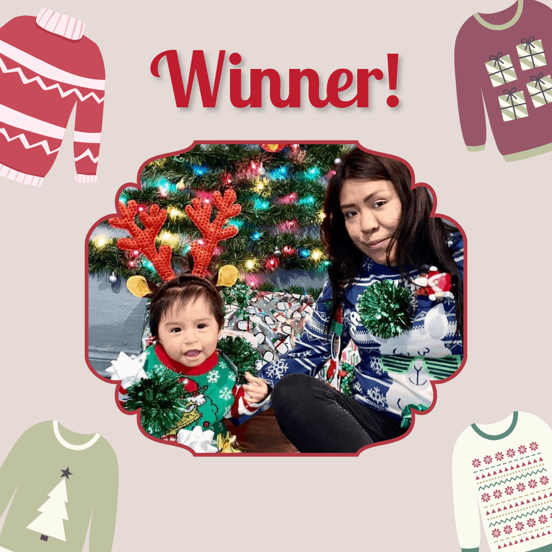 "A woman and a preschool girl both wearing Christmas sweaters. Text reads ""Winner!"""